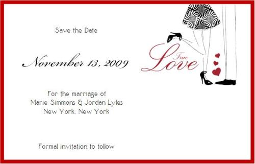 True Love Wedding Save the Date Card © House of Papier 2009
