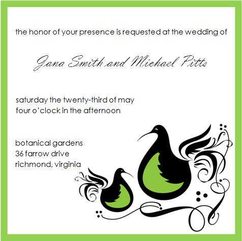 Partridge Wedding Invitation - © 2009 House of Papier