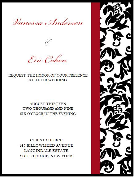 red black and white wedding invitations. Black, White amp; Red Demask